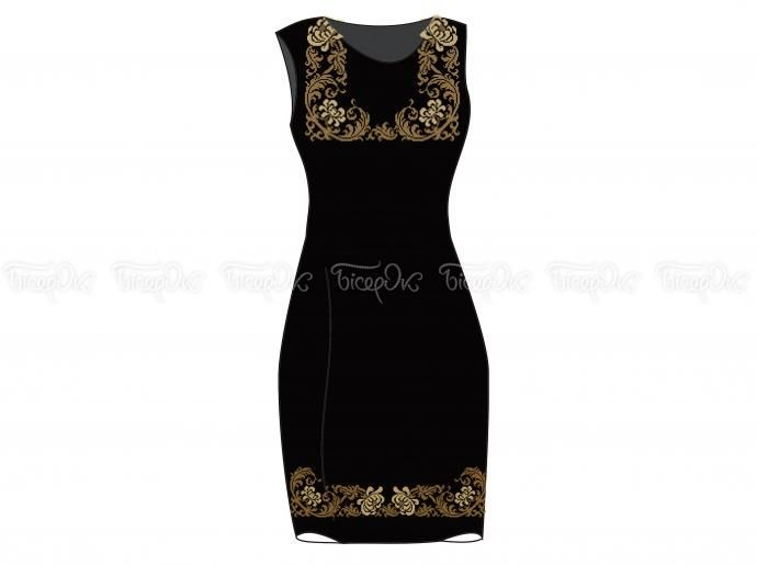 Заготовка женского платья без рукавов «Завитки золотые» — «Бисерок»