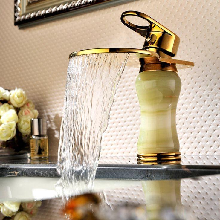 Водопад кран раковины смесители для ванной комнаты водопроводной воды золотой водопад ванной bowlder кран jade кран SD-L-002A