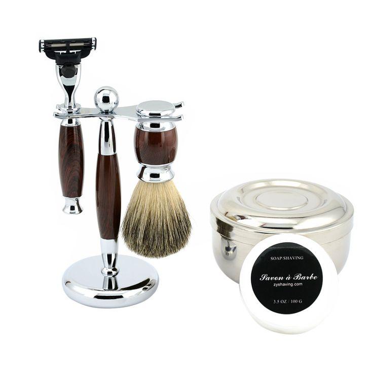 ZY Men Classic Wet Shaving Kit Safety Blade Razor +Pure Badger Shave Beard Brush + Razor Stand Holder + Bowl + Shaving Soap Set #Affiliate