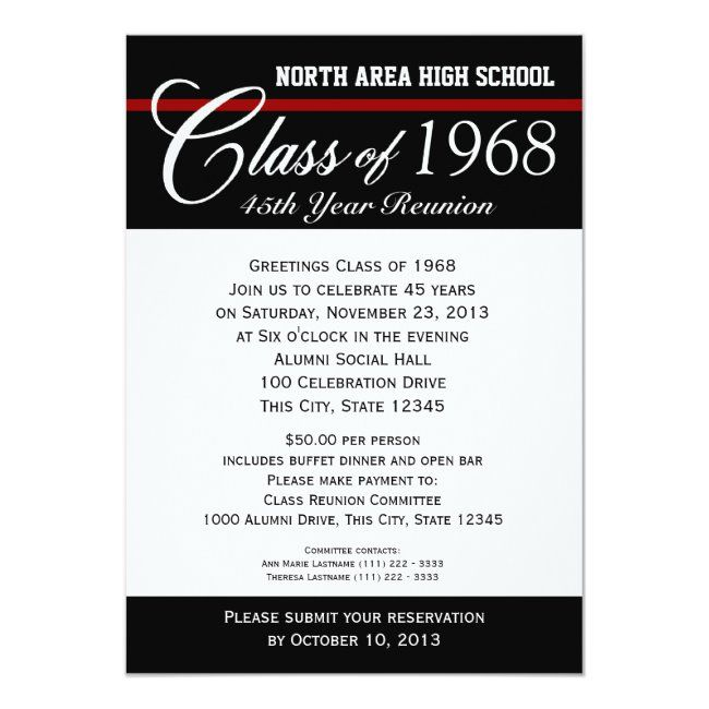 Class Reunion With Adjustable Color Stripe Invitation Zazzle Com In 2021 Class Reunion Invitations Reunion Invitations Class Reunion