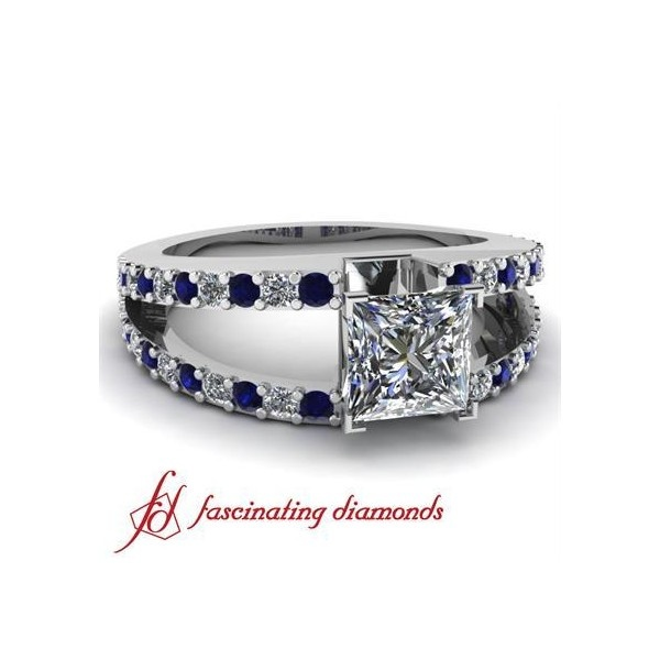 Pave Set Diamond Split Band Engagement Ring With Round & Blue Sapphire ($1,100)