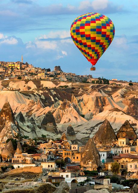 Balloon and First Light in Goreme by Rob Kroenert on Flickr.  Hot air balloon above Göreme, Cappadocia, Turkey.