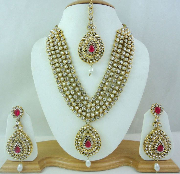 Bollywood Pearl Hot Pink Rani Haar Gold Tone Necklace Bridal Jewelry Set 4 Pcs