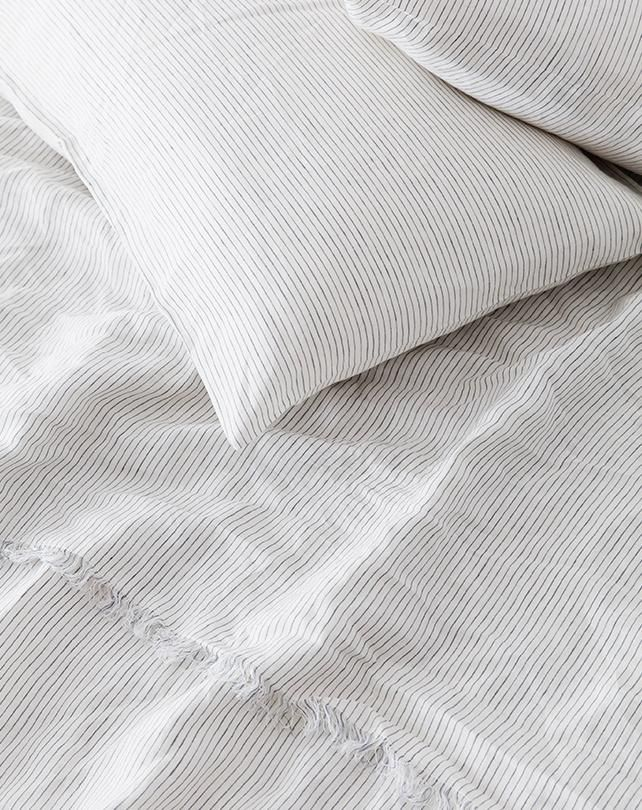 Linen Sheet Set - Blue Stripe