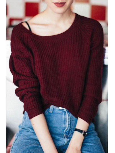 GET $50 NOW | Join Zaful: Get YOUR $50 NOW!http://m.zaful.com/boat-neck-wine-red-sweater-p_95253.html?seid=1303206zf95253