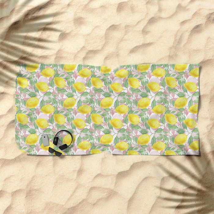 Yellow Pink White And Green Lemon Garden Beach Towel Get Some