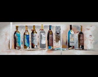 ilxe541 Schilderij 50x150 Wijnflessen