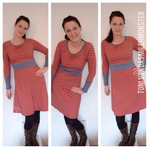 toni - das milchmonster - Basiskleid mit Faltenausschnitt & Taillenbündchen