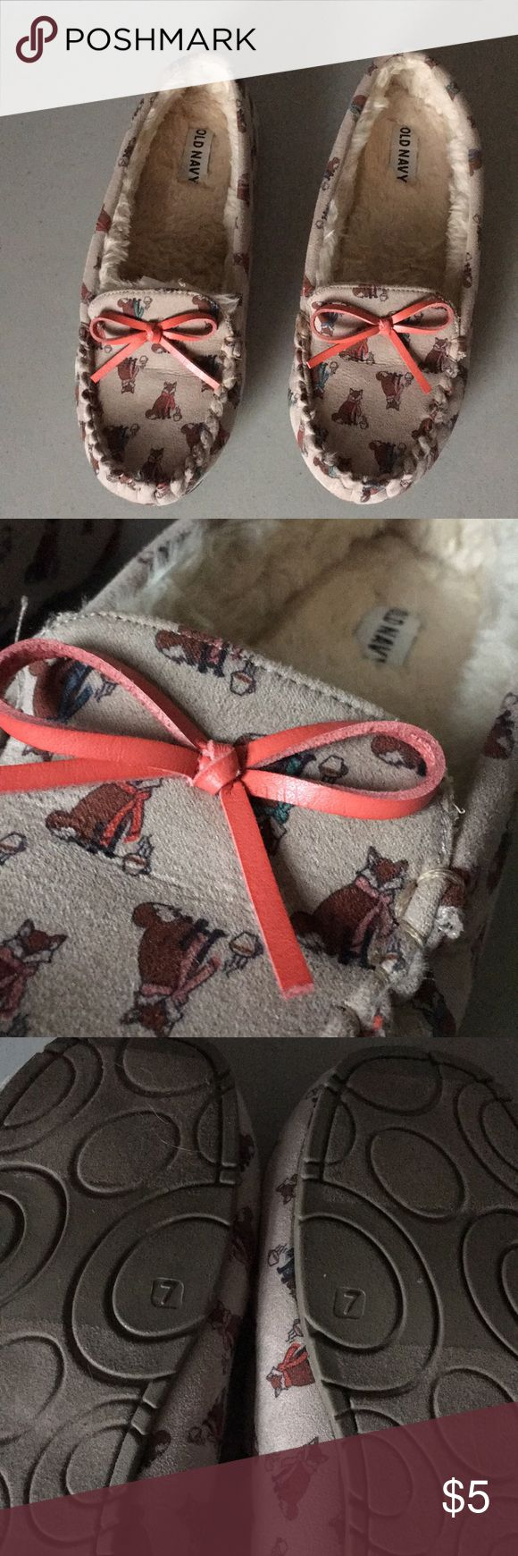 Old Navy slippers - Fox print New, never used.  Size 7 Old Navy Shoes Slippers