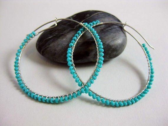 turquoise beaded hoop earrings | jewelry | Pinterest ...