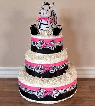 Pink Zebra Diaper Cake...this Etsy seller has some really cute diaper cakes!