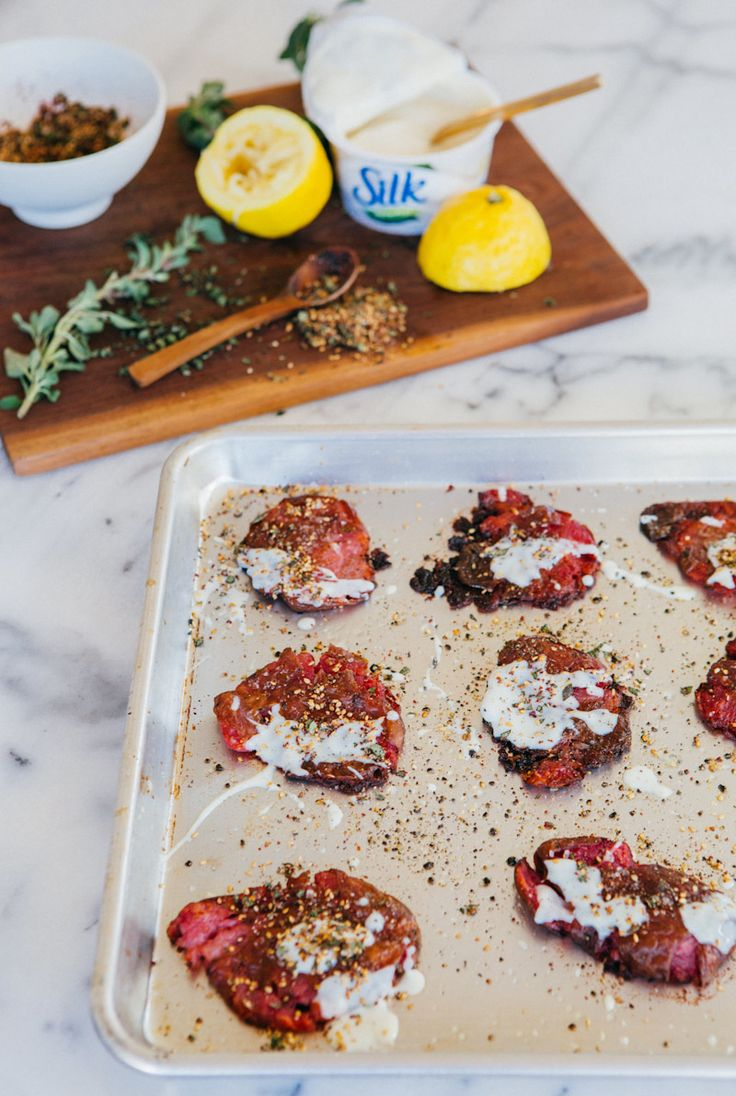 These crispy Smashed Potatoes with Silk Dairy-Free Yogurt and Za'atar are decadent and full of flavor but also light, healthy and fun!