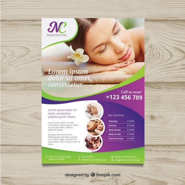 Download Poster For A Spa Center With A Photo For Free In 2020 Spa Center Massage Spa