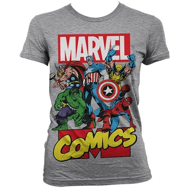 Marvel Comics Womens T Shirt All The Greats ($22) ❤ liked on Polyvore featuring tops, t-shirts, shirts, tee-shirt, marvel comics t shirts, marvel comics, marvel comics shirts and shirt top