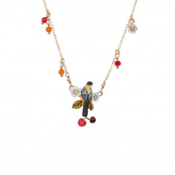 Bird and cherry necklace