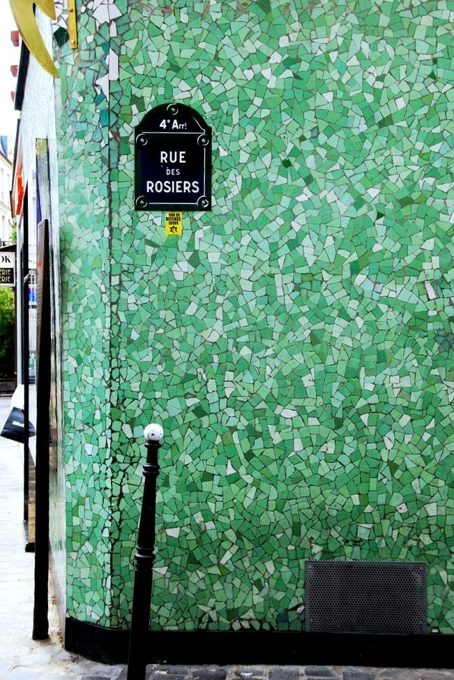 Lovely green mosaic tiles, Paris.