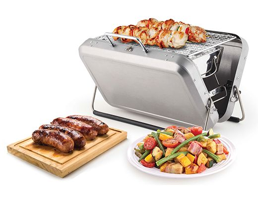 Portable BBQ suitcase fits on the rear rack of a bike for cookouts on the go. #bikepicnic #velojoy