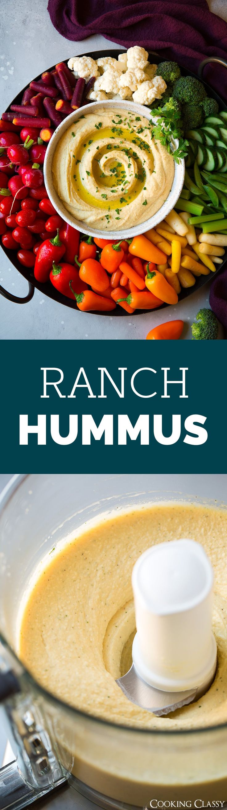 Ranch Hummus - flavorful, easy to make Ranch Hummus that's perfect for snacking and parties! Deliciously creamy with the just the right touch of that classic ranch taste. #ranch #hummus #dip #appetizer #partyfood  via @cookingclassy
