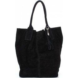 Shopperbag Skóra naturalna Zamszowa Genuine Leather czarna