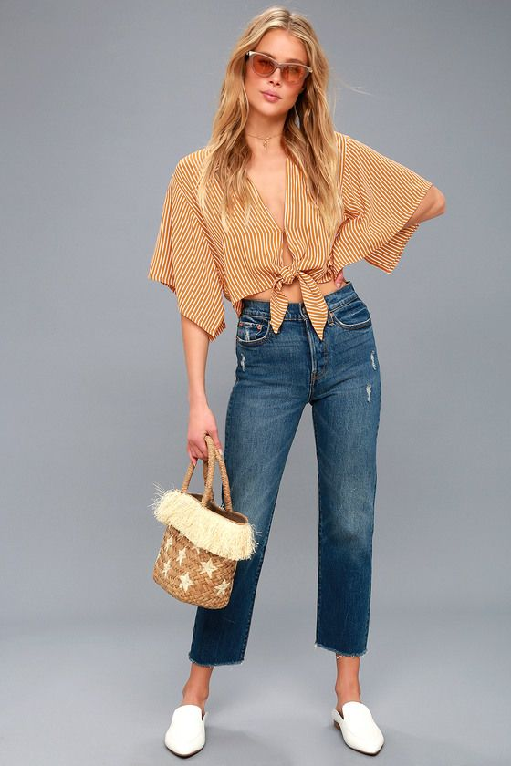 b03b3a991a1 Mojave Golden Yellow Striped Tie-Front Crop Top | Favorite: Lulu's ...