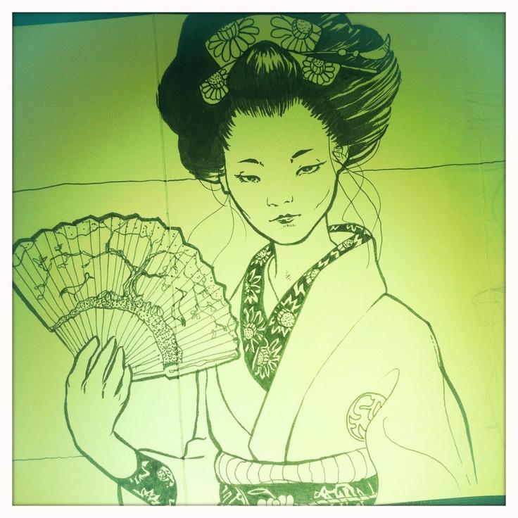 Sketch of Geisha with Fan