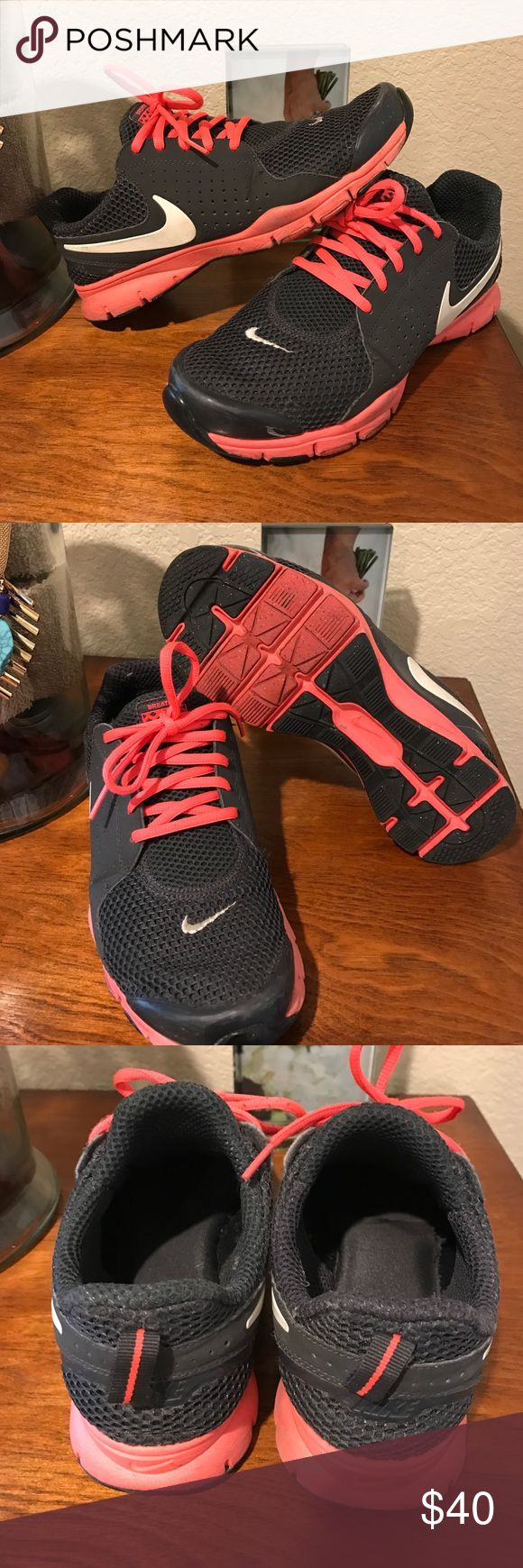 NIKE training shoes Slip On Comfortable soles. You have to get used to them being slip on, a little difficult to slip then on at first. They're 7.5 and fitting Nike Shoes Athletic Shoes