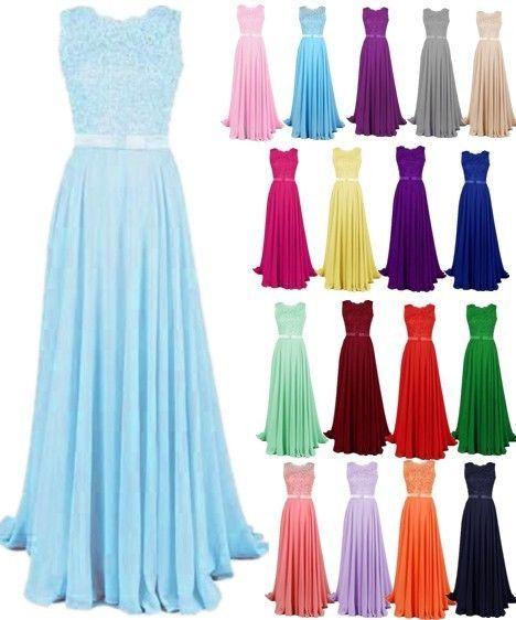 de3b223e78fa Long Chiffon Lace Evening Formal Party Ball Gown Prom Bridesmaid Dress Size  6-22