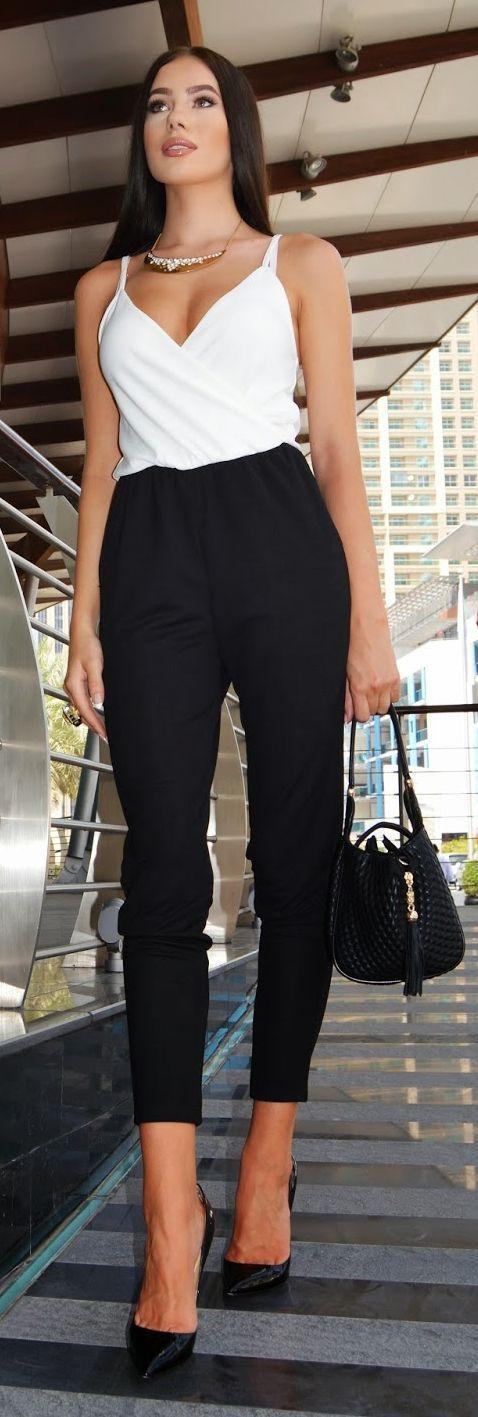 White Top & Black Chic Pants.