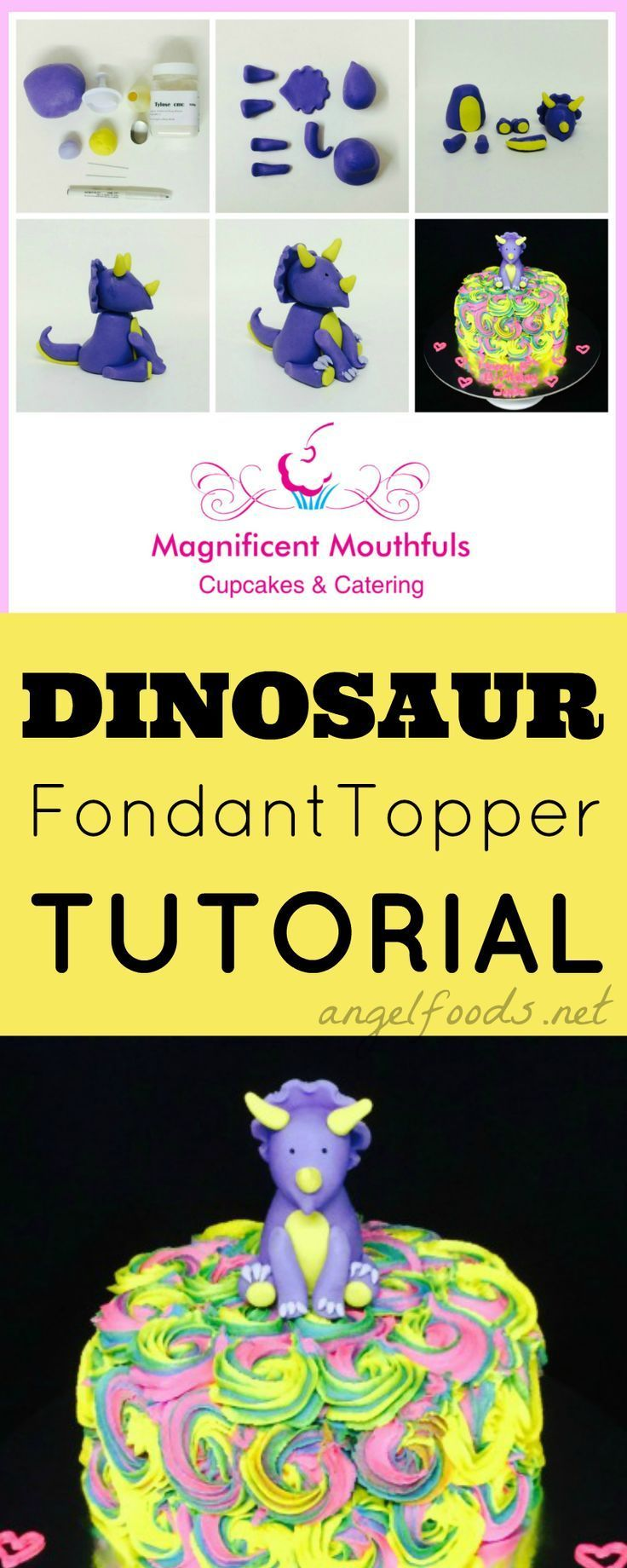 Cute Dinosaur Fondant Cake Topper Tutorial   This is a wonderfully short, simple tutorial on how to make this ever so cute (& easy) dinosaur topper. Perfect for on top of cakes, made with fondant (or gumpaste) or even chocolate modelling paste.   http://angelfoods.net/cute-dinosaur-fondant-cake-topper-tutorial/