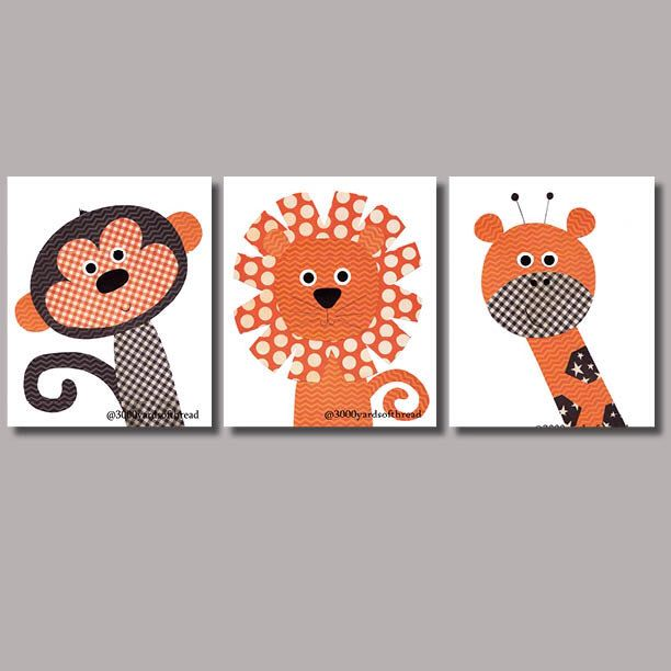 Kwekerij illustraties afdrukken oranje en zwart giraffe monkey lion jungle thema decoratie - Decoratie kamer ...