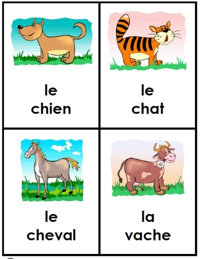 This adorable set of flashcards is perfect for petite hands! Print this packet as 10 posters, each with 4 animals and their French names -- or cut apart to make 40 large quarter-page ...