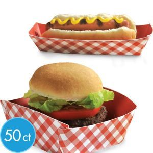 Picnic Party Red Gingham Paper Food Trays 50ct Party City
