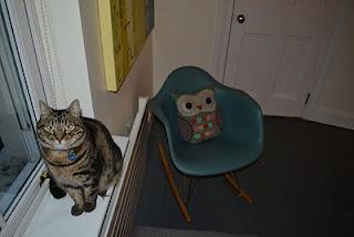 My living room: My cat Waffles and my blue-green Eames rocker. http://motheach.blogspot.com