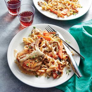 A full-plate dinner simmers to saucy, savory perfection in the slow cooker.To end up with super-succulent pork, don't overcook the chops...
