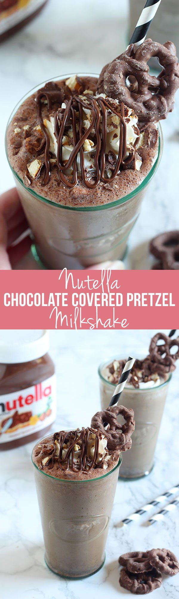 Holy WOW! Nutella Chocolate Covered Pretzel Milkshake features a chocolate Nutella milkshake with bits of chocolate covered pretzels, topped with whipped cream, more Nutella, and more pretzels! Complete decadence in a drink.