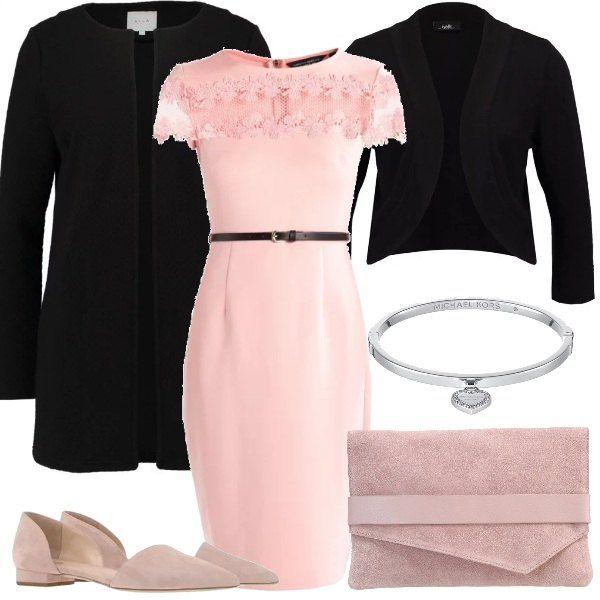 Un outfit ideale per chi vuole essere sempre elegante. Tubino rosa con cintura in vita, giacca nera e cappotto corto nero con scollo rotondo. I dettagli ti renderanno unica: ballerina rosa effetto scamosciato, troviamo lo stesso effetto nella pochette anch'essa rosa e, in fine, un bellissimo braccialetto con pendente a cuore.