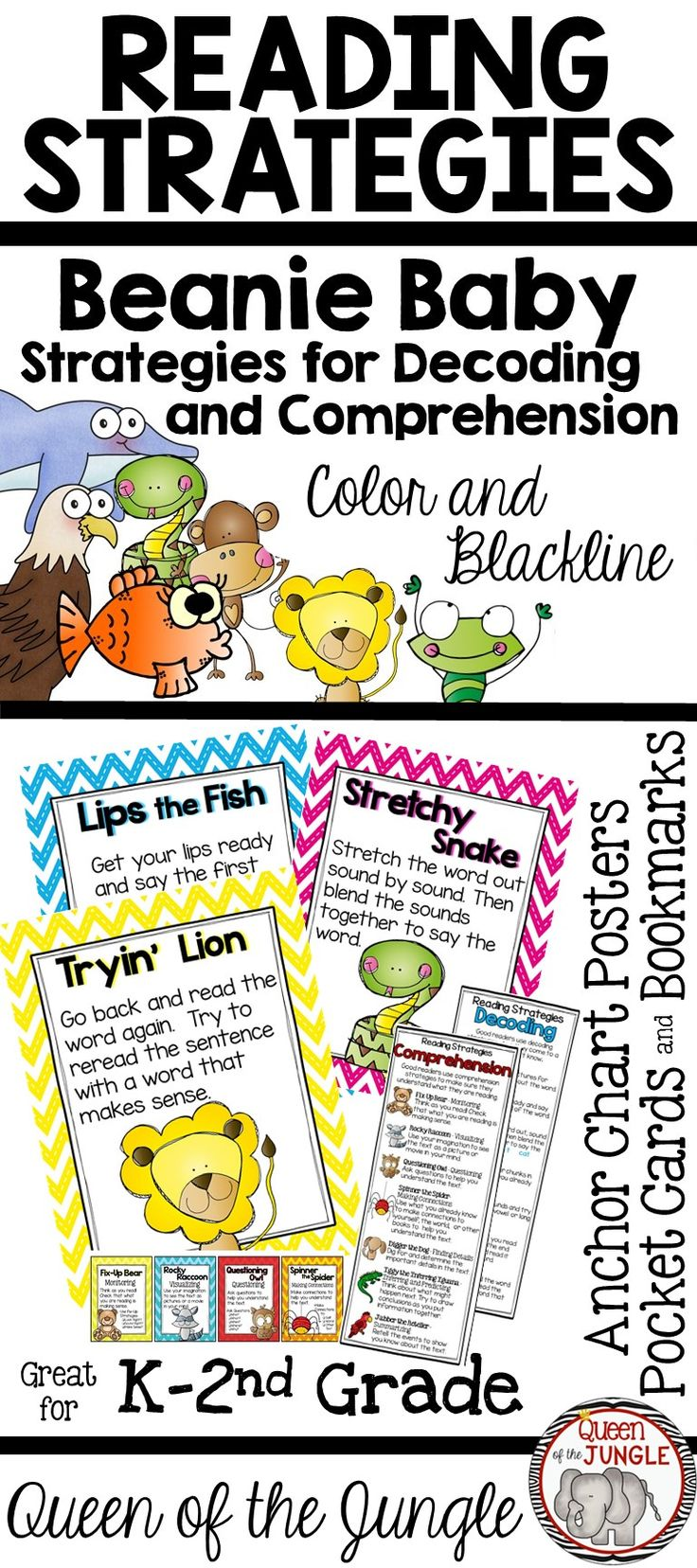 Beanie Baby Reading Strategies for Decoding and Comprehension. Kindergarten - 2nd Grades. Anchor Chart Posters, Bookmarks and Pocket Size Cards.