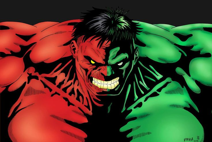 red and green hulk