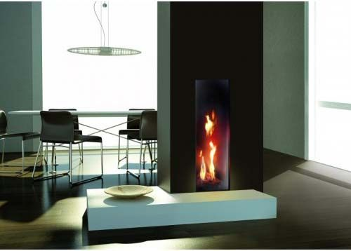 Black mirror background glass for ITALKERO gas fireplaces