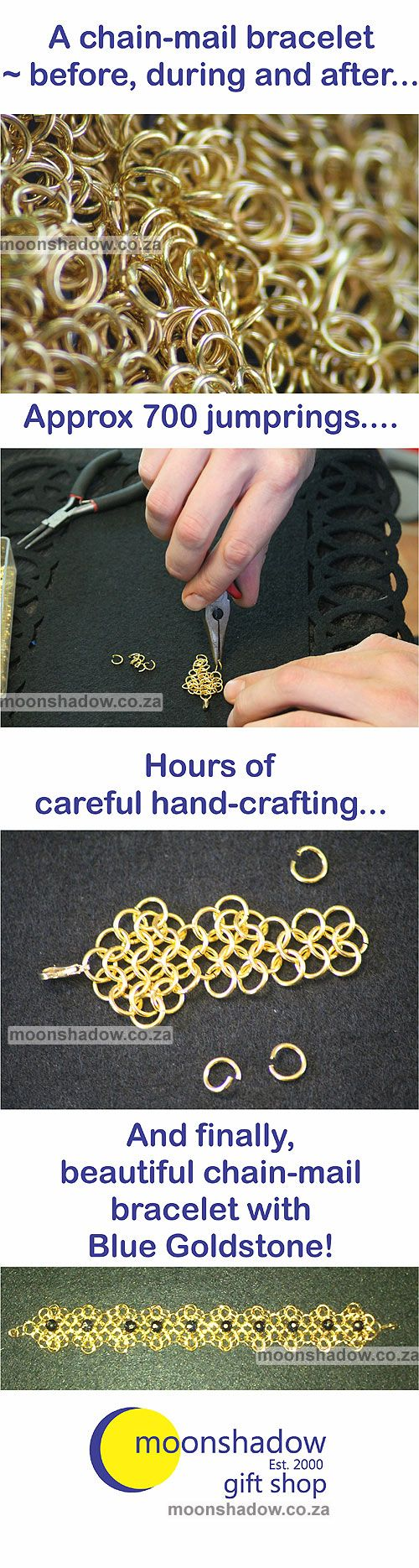 Chain-mail bracelet with blue goldstone. Hours of careful hand-crafting!