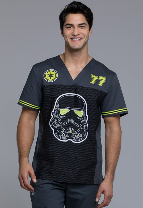 ccbff5a7aa0 You'll turn some heads when you sport this Star Wars Stormtrooper #77 scrub  top for men. A Men's V-neck top features chest welt pocket, a kangaroo  pocket, ...