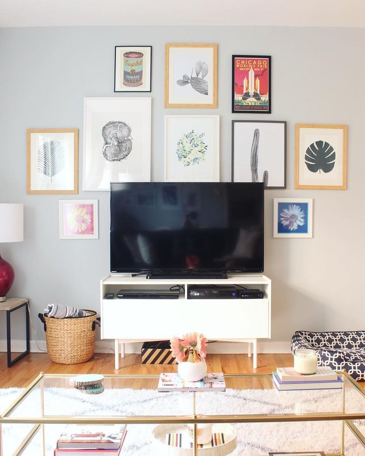 """5 Smart & Easy Ways To Live With Your Home Tech #refinery29  http://www.refinery29.com/home-media-set-ups#slide-1  Incorporating your TV into a gallery wall — by either mounting it among your artwork or placing it in a multi-layered setup — is essentially a JV trick at this point. But incorporating all of its accoutrements into a chic console (like @maragreenwald's) that doesn't immediately read """"med..."""