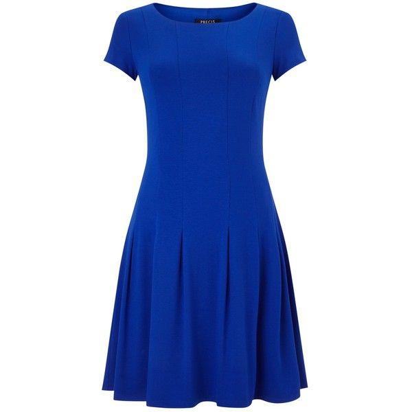 Precis Petite Pleated Jersey Dress, Cobalt ($66) ❤ liked on Polyvore featuring dresses, petite, knee-length dresses, blue maxi dress, midi skater dress, blue midi dress and blue dress