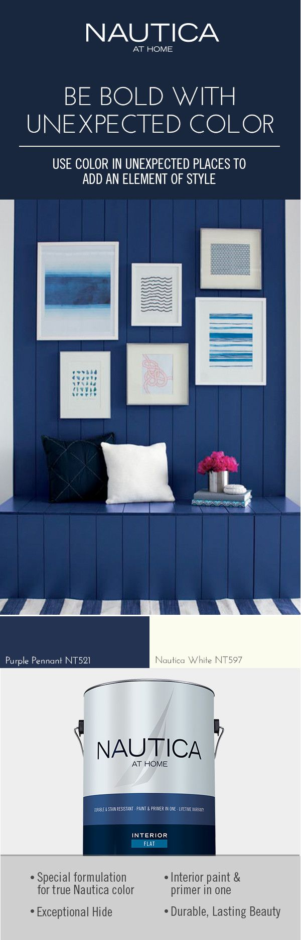 Designer Tip: Don't be afraid to use deep colors in small spaces like a mudroom, entryway or hallway.  Use this dark blue to be the subtle backdrop of the space and create an unexpected element of style.