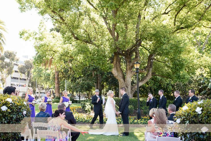 A beautiful ceremony set-up at the Queens Gardens in East Perth for Jess & Matt's wedding