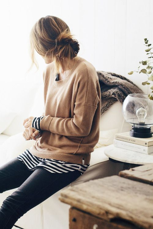 dustjacketattic: camel cashmere, stripes & black jeans