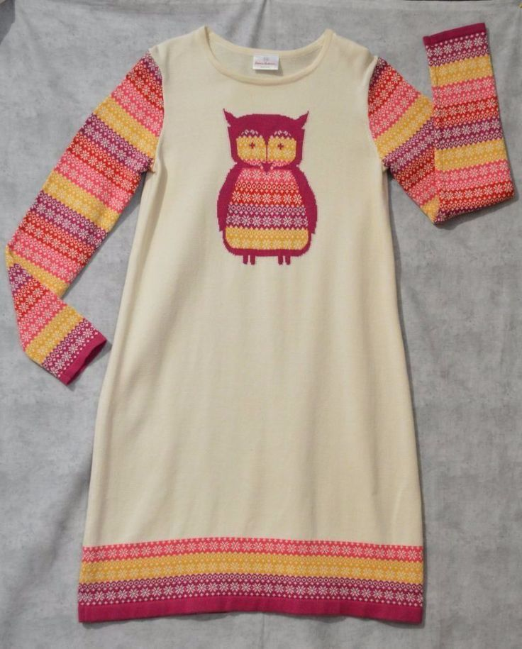 Hanna Andersson Girl's Fair Isle Owl Sweater Dress Sz 160 12/14/16 ...