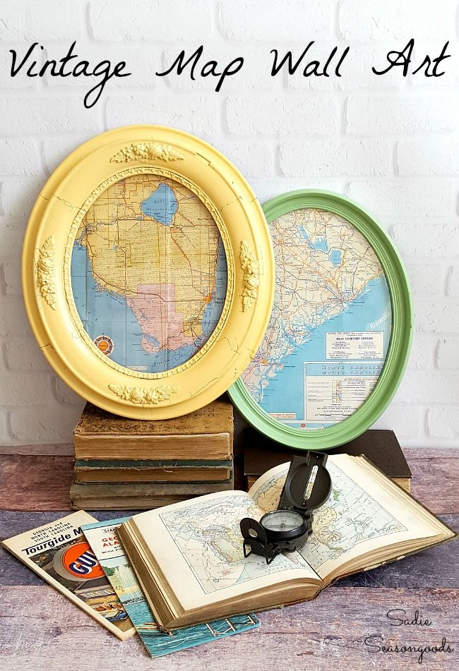 Map Wall Art Framed Wall Art With Oval Picture Frames Antique Maps Diy Picture Frames Oval Picture Frames Picture Frame Crafts