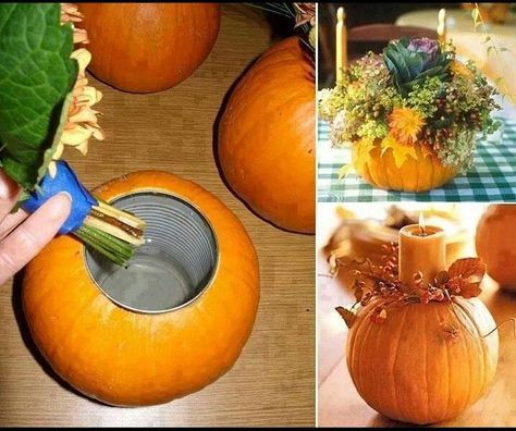 Easy Thanksgiving Pumpkin Centerpiece - Cut out center of pumpkin, place a tin can, put in a candle, leaves, and voila!