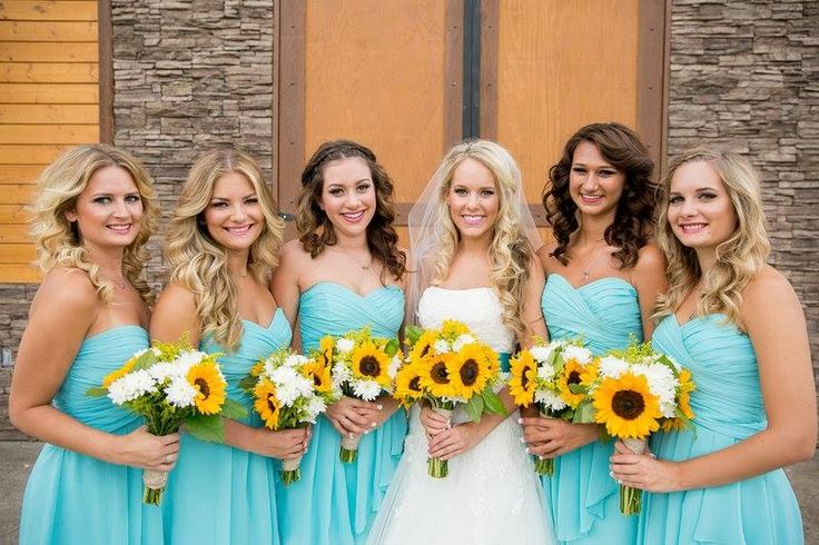 Tiffany blue wedding sunflowers country...sort of the idea but not ...